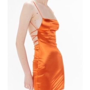 UO Motel Kozue Satin Tie-Back ORANGE Mini Dress mi